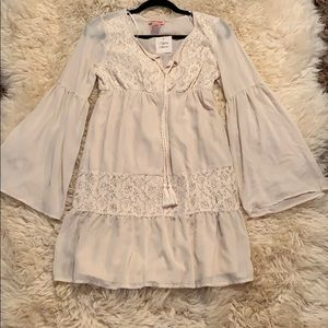 NWT cream long sleeved dress